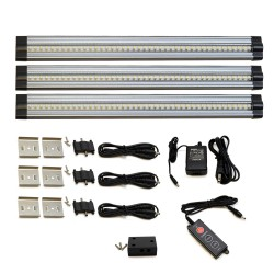12 Inch Cool White Modular LED Under Cabinet Lighting - Premium Kit (3 Panels)